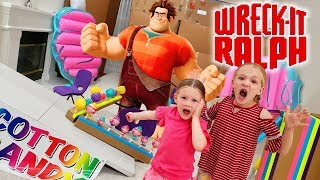Escape the BabySitter! Wreck It Ralph In Real Life Breaks Our Cotton Candy Box Fort!