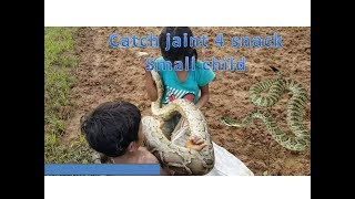 small child boy and girl catch jaint  snake in farm
