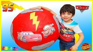 GIANT EGG SURPRISE OPENING REVIEW Disney Pixar Lightning McQueen Fun Kids video