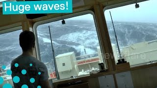 This is what it is like on ship in the North Sea during a storm