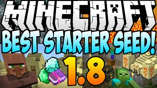 ★ Minecraft 1.8.1 Seeds - BEST STARTER SEED! Diamonds, Dungeon & Village AT SPAWN! (Minecraft 1.8)