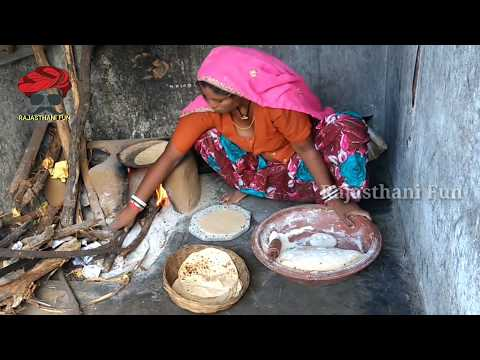 Indian village woman makes wheat flat bread roti on Clay stove!! Real rajasthani woman life