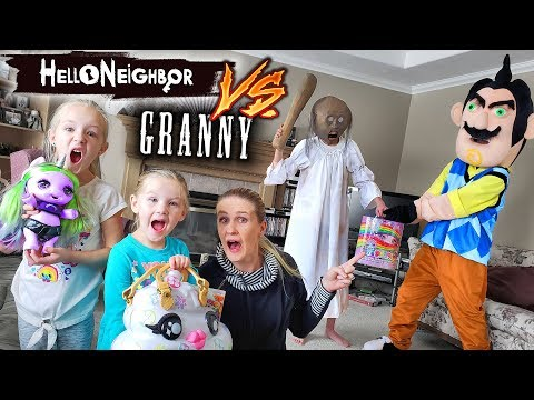 Hello Neighbor in Real Life vs Granny in Real Life Poopsie Unicorn Toy Scavenger Hunt