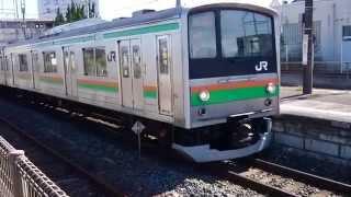JR東日本205系600番台(普通顔+メルヘン顔) JR宇都宮線宇都宮行き 岡本駅発車