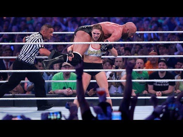 WWE Wrestlemania 34: Kurt Angle and Ronda Rousey vs Triple H and Stephanie McMahon - FULL MATCH