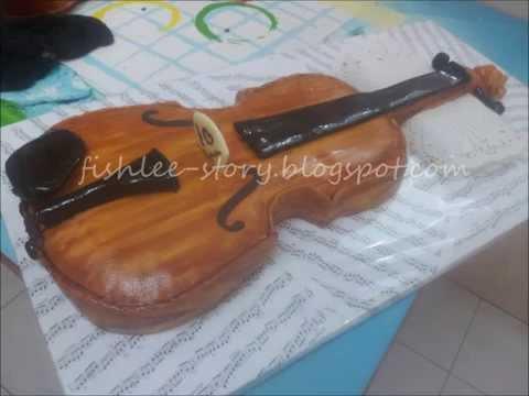 Violin fondant cake steps by steps photos