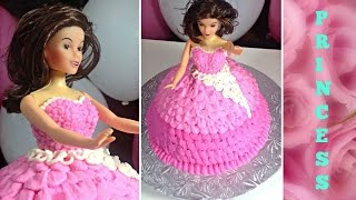 Birthday Cake Ideas How to make a princess doll Birthday Cake Tutorial by (HUMA IN THE KITCHEN)