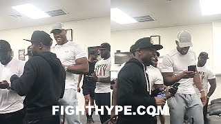 ANTHONY JOSHUA VISITS FLOYD MAYWEATHER TO WATCH HIM TRAIN FOR CONOR MCGREGOR