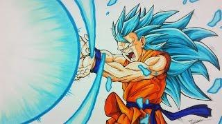 Drawing GOKU Super Saiyan BLUE 3 KAMEHAMEHA | TolgArt