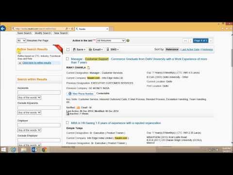 Naukri.com Resume Database - New Interface
