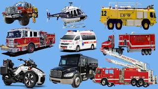 Cars for Kids - Learn Vehicles | Trucks and Transports for Children - Fire Truck, Emergency Vehicles