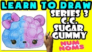 ★How To Draw Num Noms Series 3: C.C. Sugar Gummy ★ Learn How To Draw Num Noms, Drawing Num Noms