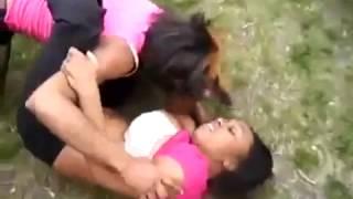 Ghetto girls fight till naked in the park 1
