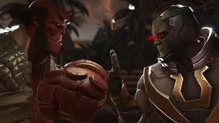 Injustice 2 : Hellboy Vs Darkseid - All Intro/Outros, Clash Dialogues, Super Moves