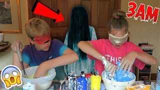 NEVER MAKE SLIME *BLINDFOLDED* AT 3AM!! OMG SO SCARY!!! *Blindfolded Slime Challenge*
