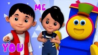 Pronoun Song   Learning Street With Bob The Train   Kindergarten Nursery Rhymes   Videos by Kids Tv