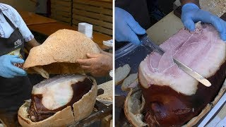 Slicing Ham Cooked inside Bread Crust. Italy Street Food