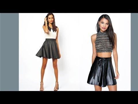 Wonderful Black Satin Skater Skirt
