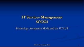 ITSM Week 5 - TAM and UTAUT