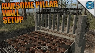 AWESOME PILLAR WALL SETUP | 7 Days to Die | Let's Play Gameplay Alpha 16 | S16.4E22