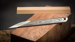 Making a Japanese Marking Knife from Damascus Steel