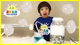 DRY ICE BOO BUBBLES Science Experiments for kids to do at home with Thomas Trains Spiderman
