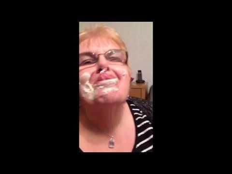 Granny licking cream