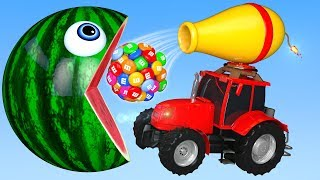 PACMAN Eat Tractor on the Farm as Change Colors Street Vehicle for Kid Children