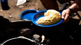 Damper in the Camp Oven - Roothy Bush Cooking