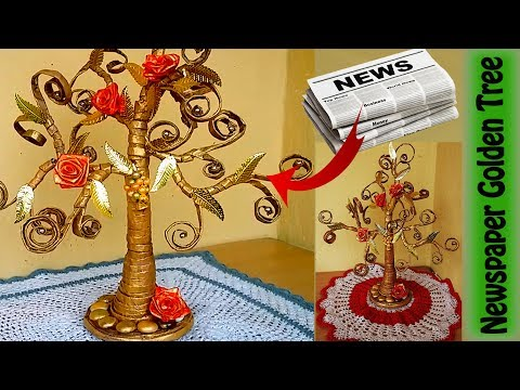 Xxx Mp4 How To Make Beautiful Golden Tree With Waste Newspaper DIY Newspaper Crafts Best Out Of Waste 3gp Sex