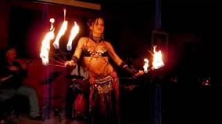 Sabrina Fox bellydance with Fire Fans