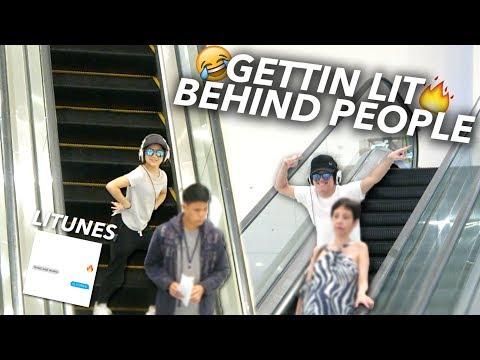 GET LIT DANCE DARE!! DANCING BEHIND PEOPLE | Ranz and Niana
