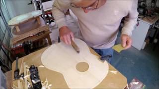 classical guitar making: strutting the soundboard