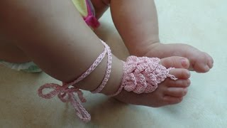 CROCHET How To #Crochet Crocodile Stitch Baby Barefoot Sandals with Thread  #TUTORIAL #317