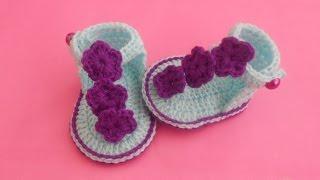(Crochet-Crosia) how to make baby crochet sandals