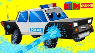 Police Van Car Wash | Cartoon Video For Kids | Vehicle Videos For Preschool Children By Kids Channel