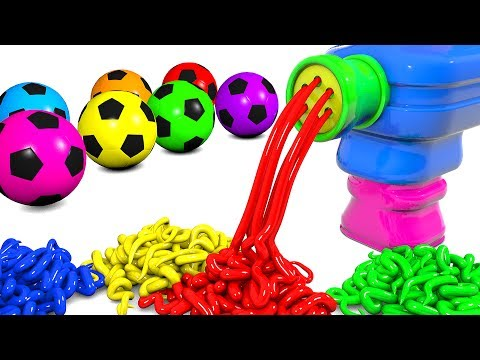 Learn Colors with Spaghetti Making Pasta Machine and Soccer Balls Colors Videos for Kids Children