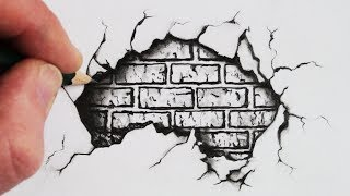 How to Draw a Cracked Brick Wall: Pencil Drawing