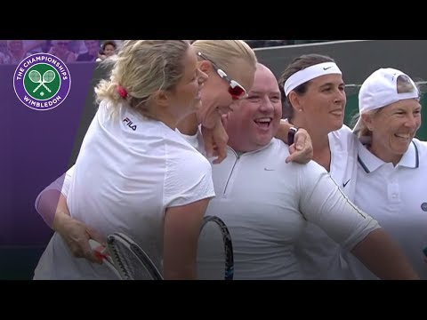 Kim Clijsters gives man tennis skirt for hit at Wimbledon 2017