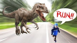 Giant robot dinosaur scares Zach