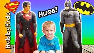Giant BATMAN + SUPERMAN Action Figures! Dawn of Justice + Surprise Toys Battle HobbyKidsTV