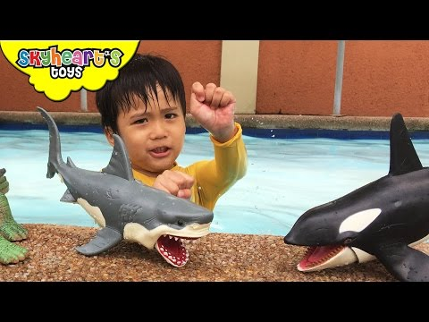 Playing with Shark Toys for Kids Animal Planet Mega Shark & Whale Set Swimming Children