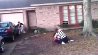 Front yard MMA fight! Winner gets to eat the last chicken wing!