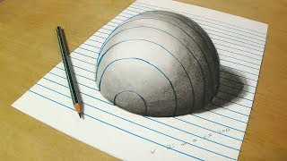 Trick Art on Line Paper  _ Drawing Half Sphere Optical Illusion - Anamorphic Illusion with Pencils