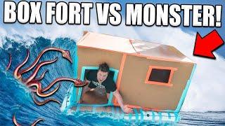 BOX FORT BOAT Vs POND MONSTER!