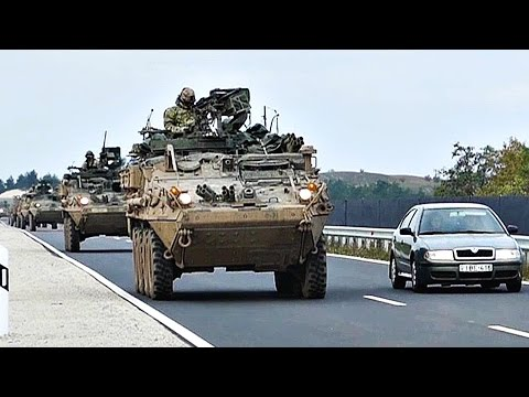 watch United States Army Strykers Drive Through Hungary