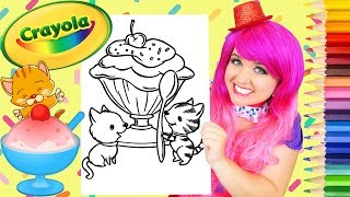 Coloring Ice Cream Kitty Cats Crayola Coloring Page Prismacolor Pencils | KiMMi THE CLOWN