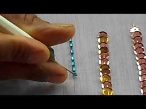 Aari Tambour Maggam Embroidery How To Sew Bugle Bead With A Aari