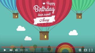 Happy Birthday Avery, full HD 1080p