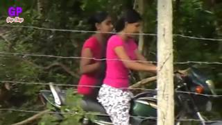 Girl try to Starting bike with Kick Start.